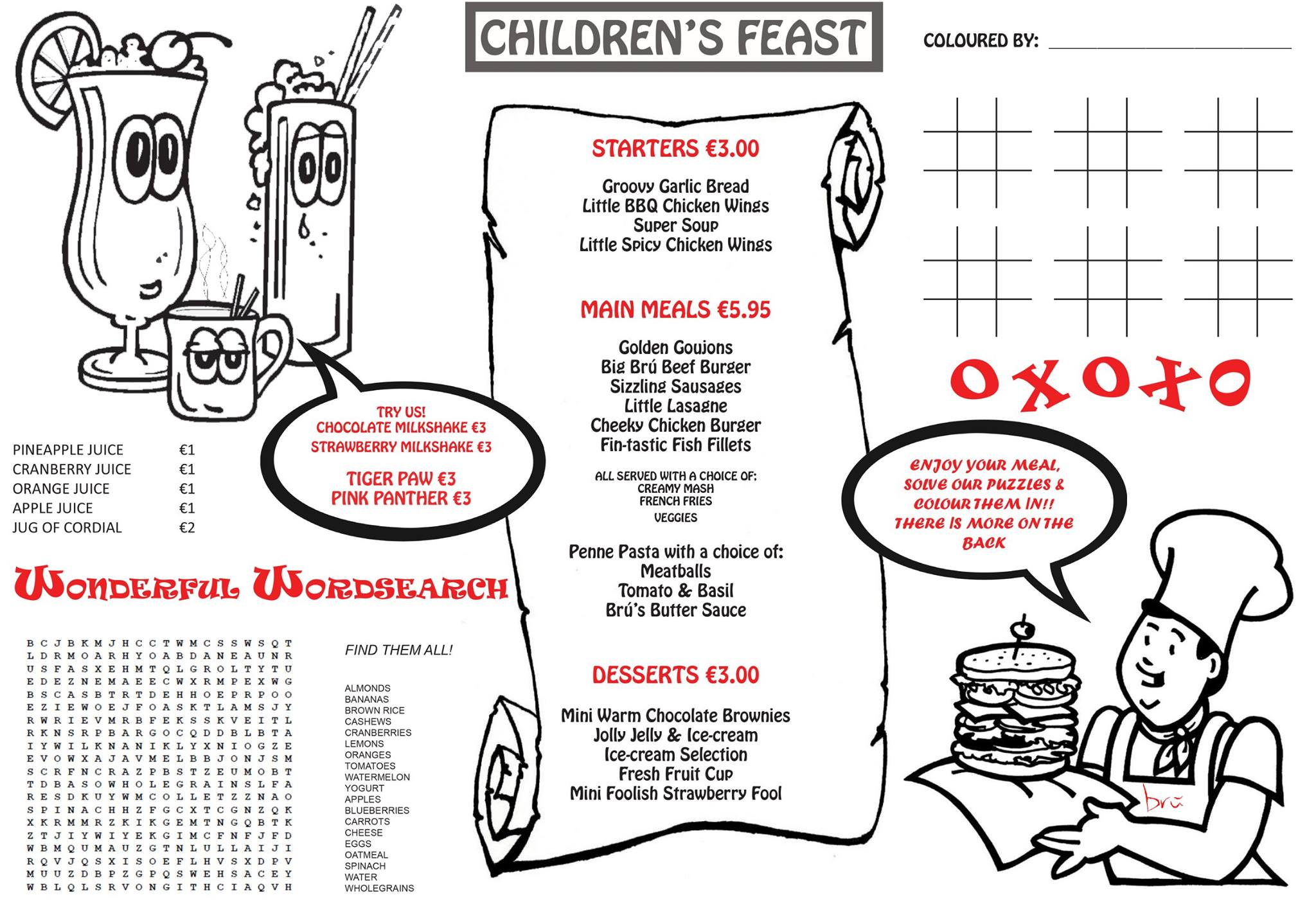 childrens menu - Bru Bar Bistro in Drogheda