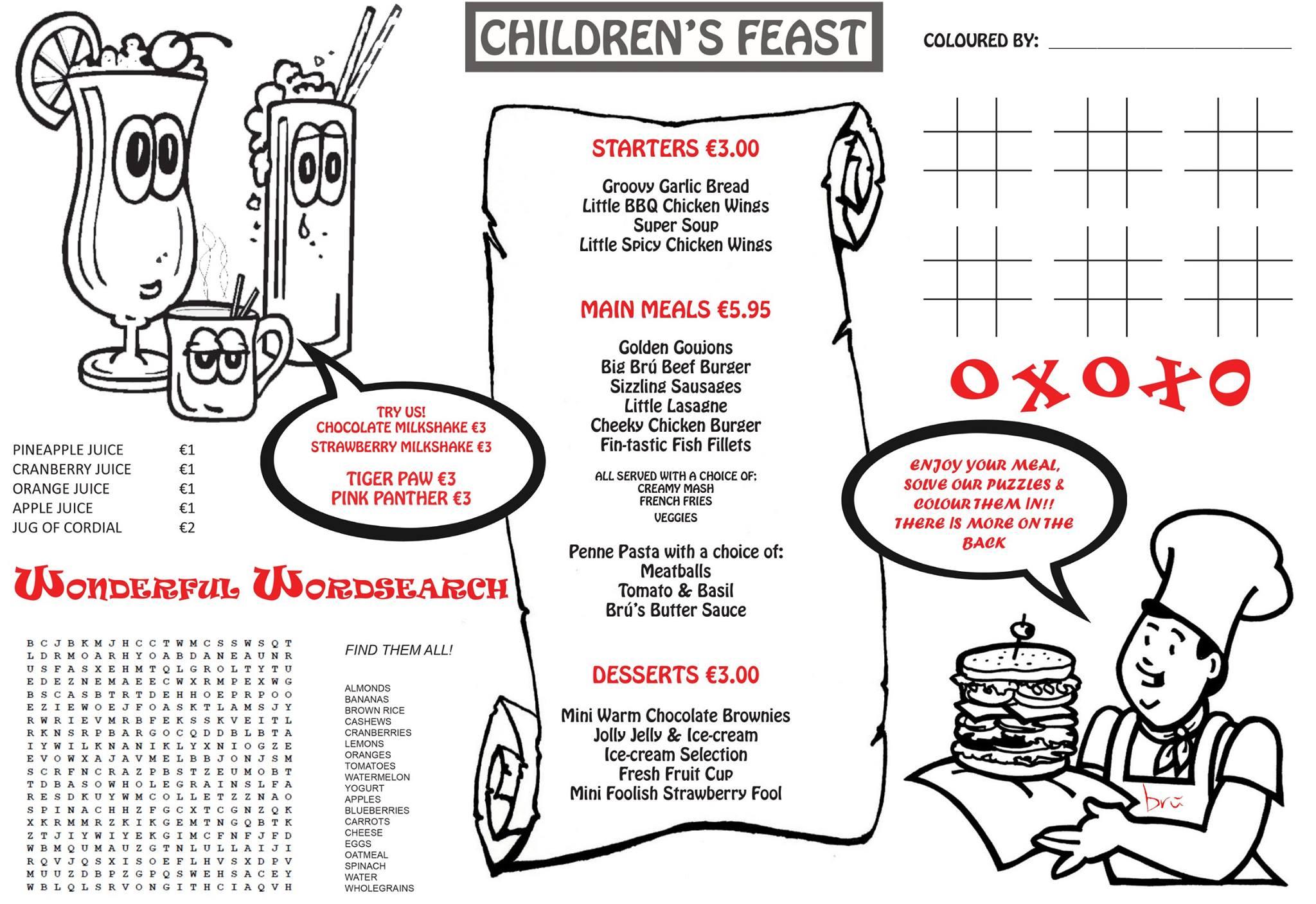 childrens menu - Bru Bar Bistro in Drogheda